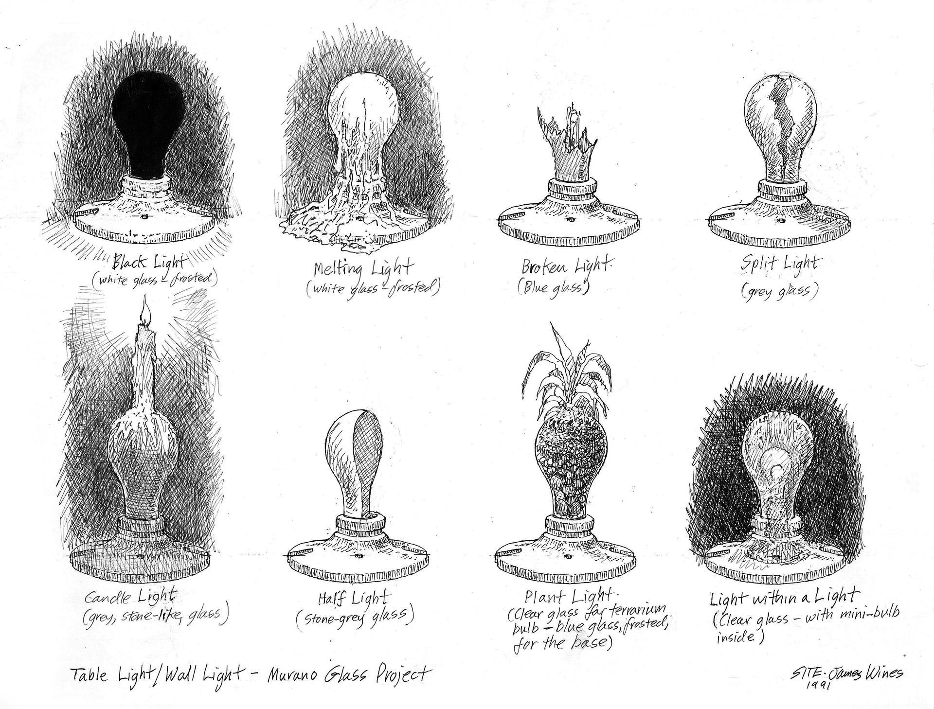 Foscarini light bulbs 1st sketches